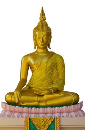 The golden Buddha sitting on a pink lotus.