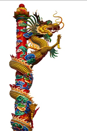 Dragon statues are climbing poles towering spectacular. Stock Photo
