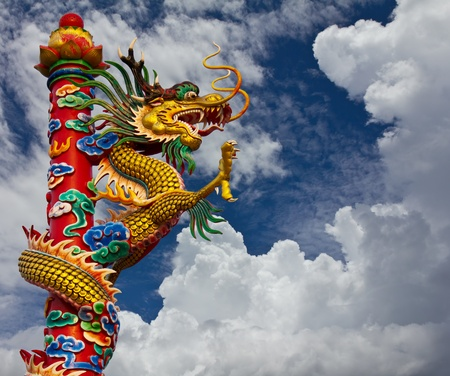 Golden Dragon statue, climb towers under the sky Stock Photo - 12065072