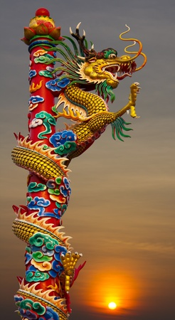 Golden Dragon statue, climb towers under the sky Stock Photo - 12065073
