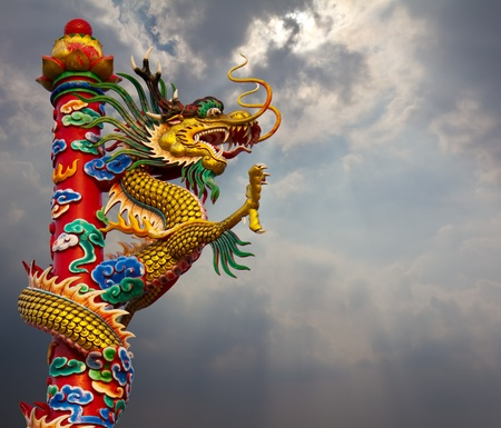 Golden Dragon statue, climb towers under the sky Stock Photo - 12065071