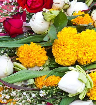 Pile of worship of various flowers  photo