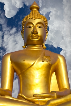 Contemporary art of stucco Golden Buddha temple in Thailand photo