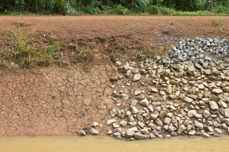 Gravel road with rocks and Soil along streams photo