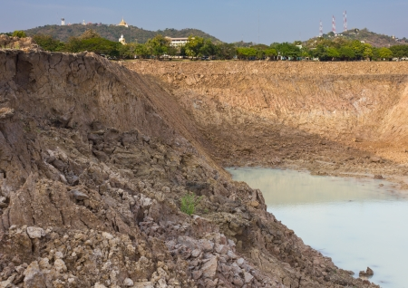 Views of the mountains, buildings, Buddha, communication towers and ponds, with soil avalanche  Stock Photo - 13973243