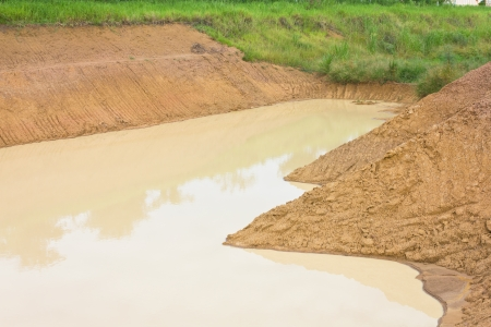 turbid: Surface of the water turbid with yellow pond to pond water and soil erosion  Stock Photo