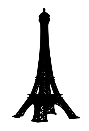Isolates of the Eiffel Tower to the small toys which are colored black  photo