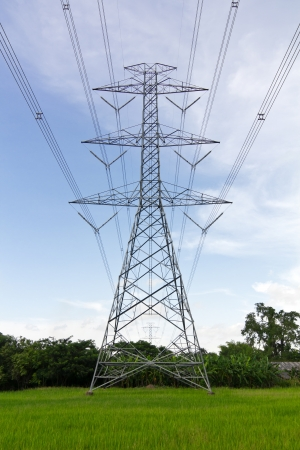 High voltage power pylons in the area of agricultural farms in Thailand, which can be dangerous  photo
