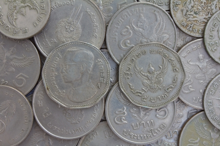 Old coins in Thailand, which is obsolete today  photo