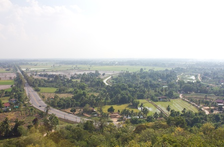 coexist: Above view of the road in rural Thailand with transportation  And agriculture coexist harmoniously