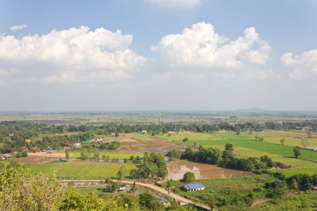 General view of the housing with the typical rice farming in rural Thailand Stock Photo - 16849050