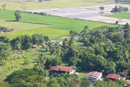 Above view of residential house on agricultural farming in Thailand Stock Photo - 16938274