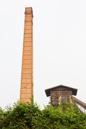 rice mill: Brick chimney is located in Thailand s rice mill