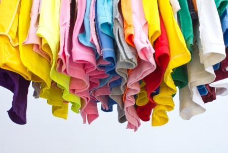 T-shirts with different colors and see which stitch and seam in the bottom  Stock Photo