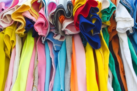 T-shirts with different colors and see which stitch and seam  photo