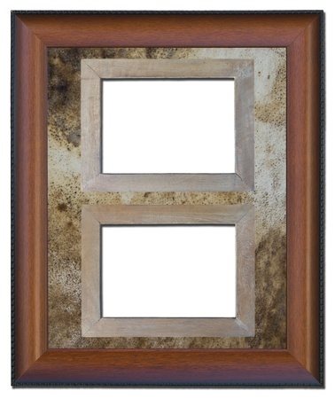 Old wooden frame isolated on a background texture of old leather  photo