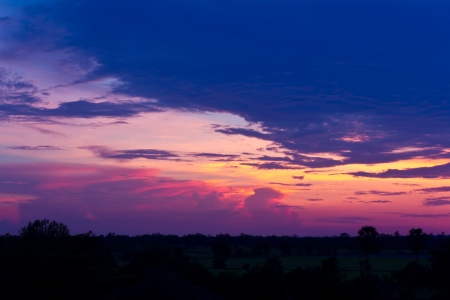 Clouds and sky beautiful sunsets in the evening rice rural Thailand  photo