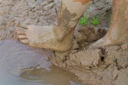 trampled: Feet of a man was trampled and stepped onto the muddy ground naturally  Stock Photo