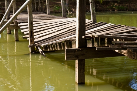 Moldering old wooden bridge collapsed, broken down in the well, which is dangerous
