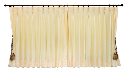 wall bars:  Isolated of yellow curtain was closed, which hung on the wall bars stainless white gracefully