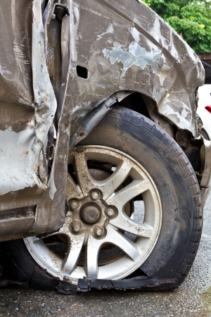 Damage caused by accidental wheel vehicles plying crash  photo