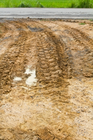 Wheel tracks of large vehicles used in agriculture, rural road on the ground  photo