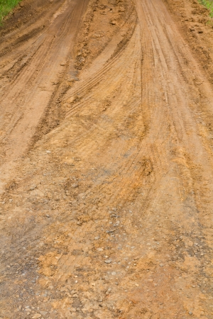 traces wheel vehicles on the road surface clay roadbed  photo