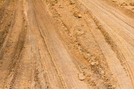 traces wheel vehicles on the road surface clay roadbed  Stock Photo