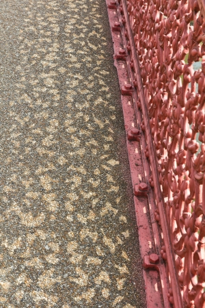 blagoveshchensky: Black silhouette of a pink palisade pattern Thailand on the bridge  Stock Photo