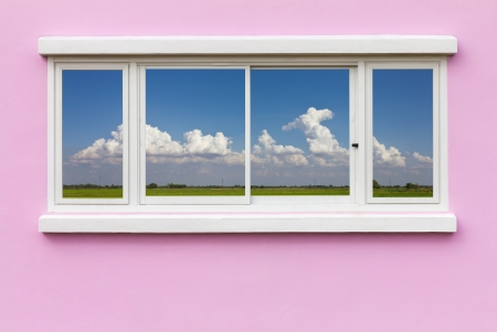 Background window frame in the wall pink blue Cloud backdrop  photo