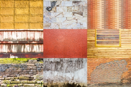 Collection of background wall, brick, concrete, wood walls different  photo