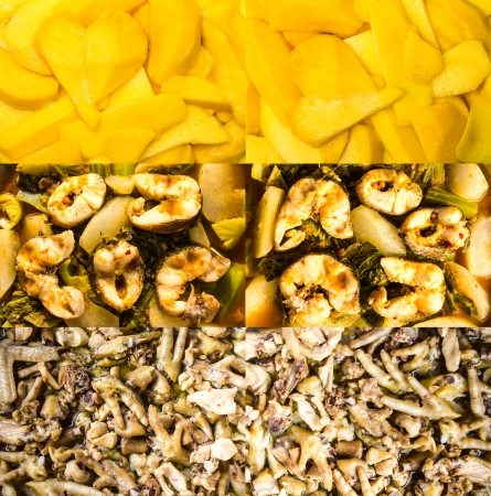 mango fish: Collection of ripe mango, curry fish, chicken foot to make noodles  Stock Photo