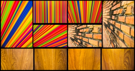 Collection of wood, plastic tubes, colorful and old brick walls  photo