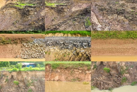 Collection of surface water shoreline erosion collapses  Stock Photo