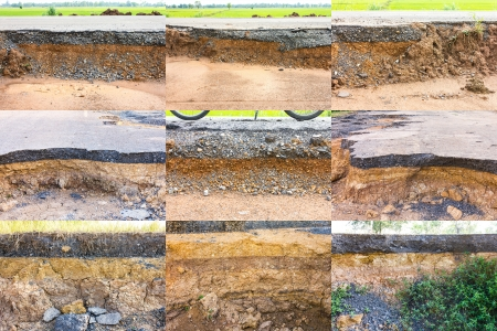 Collection of soil under the asphalt road collapsed from water erosion  photo