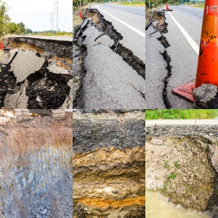 Collection of soil the asphalt road collapsed from water erosion  photo