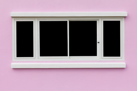 Background window frame in the wall pink black backdrop  photo