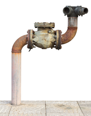 Isolates of the traditional water pipe, which was installed on the concrete  photo