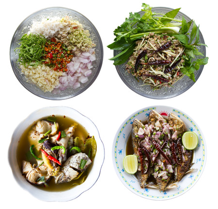 Isolates of boiled fish, fried salted fish, minced pork and herbs  photo