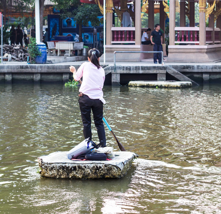 punting: Thailand women are punting foam pad to the opposite side carefully