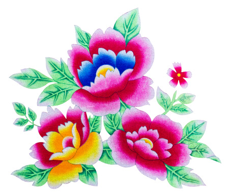 Isolates of beautiful flowers painted on the surface of the fabric  photo