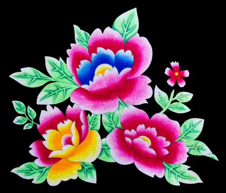isolates: Isolates of beautiful flowers painted on the surface of the fabric  Stock Photo