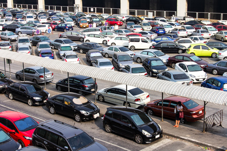 new car lots: View from above of a car park on the wide expanse of Thailand  Editorial