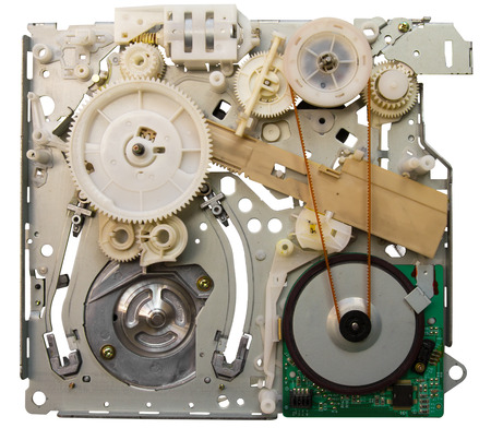 vhs videotape: Mechanical devices and old vhs videotape player will not work then  Stock Photo