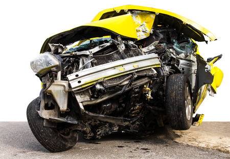 Isolate the front of the yellow car crash caused by accident hit a tree  photo