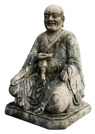 Isolates monk statues Chinese old antique weathered a long time  photo
