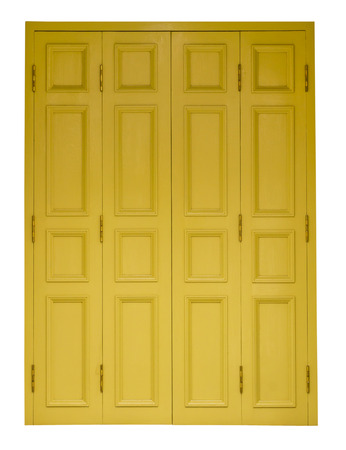 4 door: Isolates yellow antique wooden doors on all four channels off nicely  Stock Photo