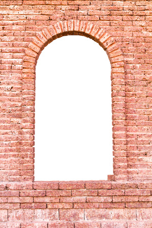 isolates: Isolates of the entrance to the ancient red brick wall imitation  Stock Photo