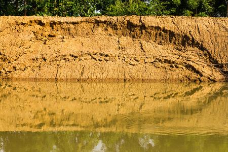 reclamation: Soil erosion, landslides, coastal reclamation new flows. Stock Photo