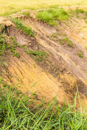 landslip: Soil erosion on agricultural land well down from the rain.